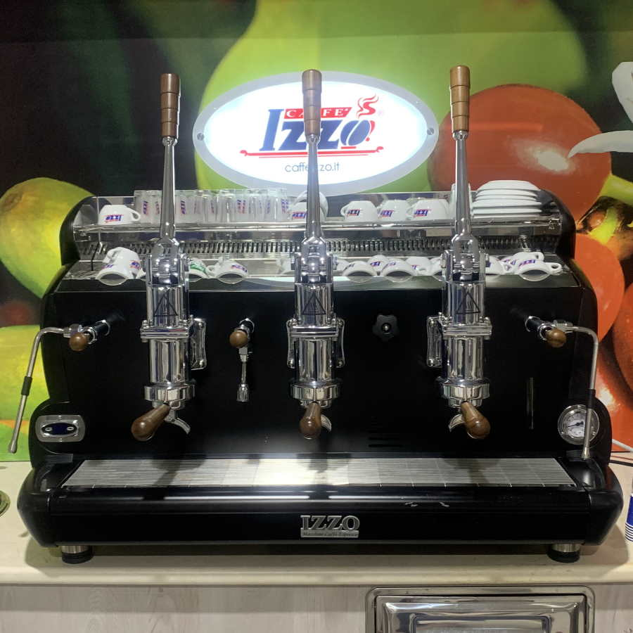 Espressor profesional cu pârghie Izzo, 2 grupuri Negru - Ocazie